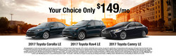 Car shoppers in search of an affordable lease on a new 2017 Toyota Camry, Corolla or RAV4 can get behind the wheel of a new model at J. Pauley Toyota for just $149 per month in Fort Smith.