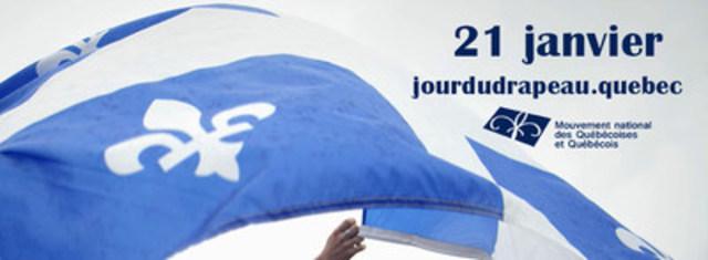 Le fleurdelisé célébrera son 69e anniversaire le 21 janvier prochain. La programmation des activités et toutes les informations sur cette commémoration sont disponibles au www.jourdudrapeau.quebec (Groupe CNW/MOUVEMENT NATIONAL DES QUEBECOISES ET QUEBECOIS)