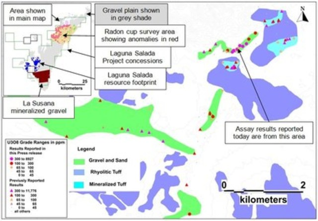 Figure 1.  Map showing the location of the La Rosada exploration area relative to the footprint of the Laguna Salada resource and the gravel plain in which the mineralization occurs. (CNW Group/U3O8 Corp.)