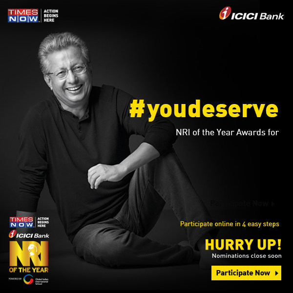 YouDeserve, NRI of the Year, Times Now, ICICI bank (PRNewsFoto/NRI of the Year)