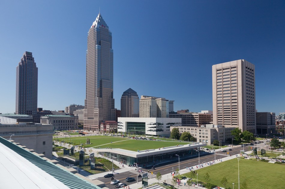 The Cleveland Civic Core and Convention Center Complex designed by LMN Architects. Photo by Jim Maguire. Image courtesy of LMN Architects.