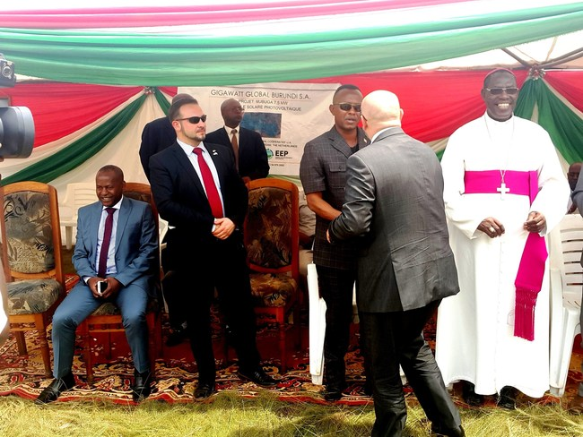 Michael Fichtenberg of Gigawatt Global greets Burundian dignitaries and the diplomatic community in a festive groundbreaking ceremony yesterday for the company's second African solar field.