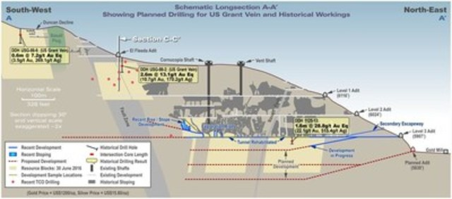 Figure 1  US Grant Schematic Long Section Indicating the Parts of the Deposit Targeted in the Phase 1 Diamond Drilling Program (Red Dots) (CNW Group/Transatlantic Mining Corp.)