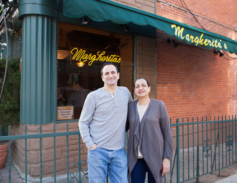 Brother and sister team Mike Fasciano, (left) and Margherita, in front of Margherita's Pizza & Cafe.