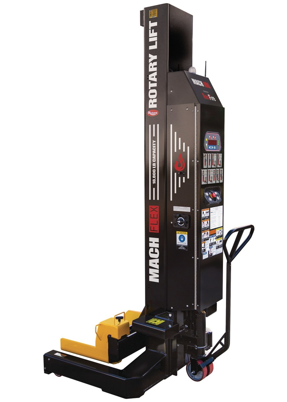 The new Rotary Lift Mach(TM) Flex powered by RedFire(TM) wireless mobile column lifting system is the first in the industry to be operated by remote control for maximum visibility and flexibility. Mach Flex also comes with a higher lifting capacity and unique productivity and safety features built right in.