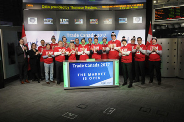TMX Group celebrates the announcement of Trade Canada 2017 with a market open ceremony. The multi-city U.S. roadshow brings together a cross-section of industry experts and U.S.-based participants with TMX Group executives to share perspectives on current issues of impact in Canadian markets.  The events will feature panel discussions with market structure experts and presentations focusing on the advantages of trading north of the border.  Trade Canada 2017 will visit New York, Washington, Chicago and Boston. Also joining TMX to celebrate were Trade Canada 2016 partners Bank of America Merrill Lynch, Canaccord Genuity, CIBC Capital Markets, Instinet Canada, Jitney Trade, National Bank Financial, Raymond James, Scotia Capital, Societe Generale, TD Securities and WD Latimer. (CNW Group/TMX Group Limited)