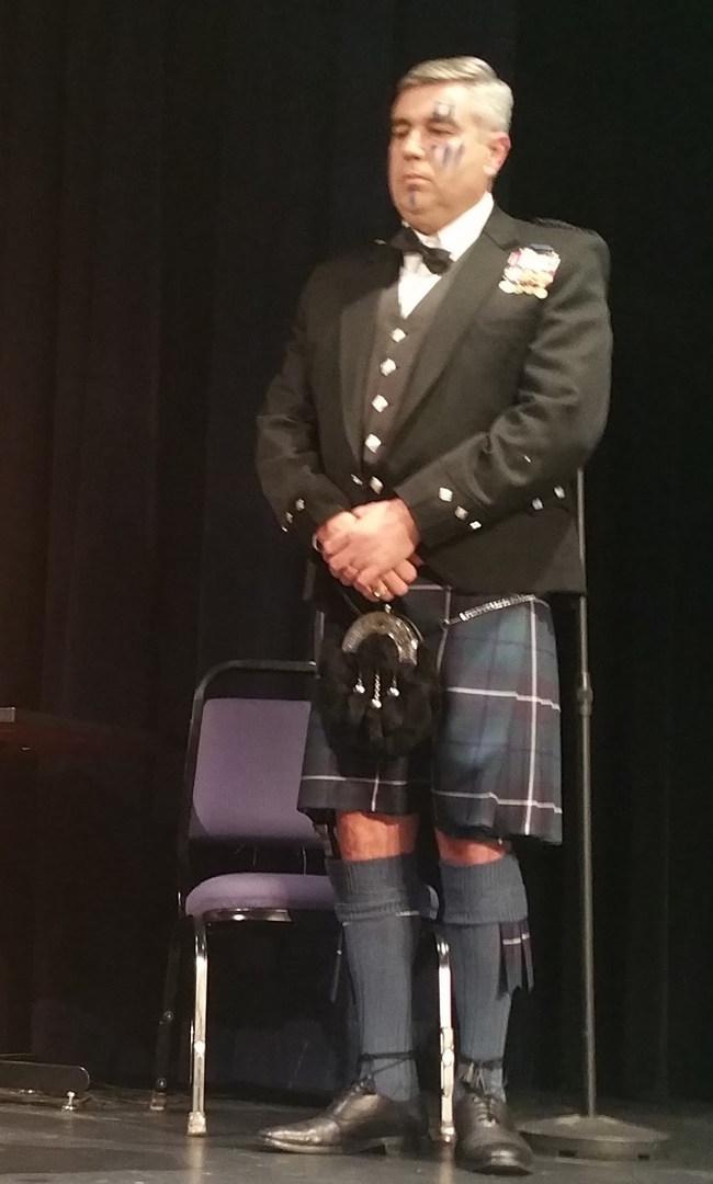Clark College President Robert Knight gets dressed for scholarship fundraiser Jan. 28 in honor of Scottish poet Robert Burns.