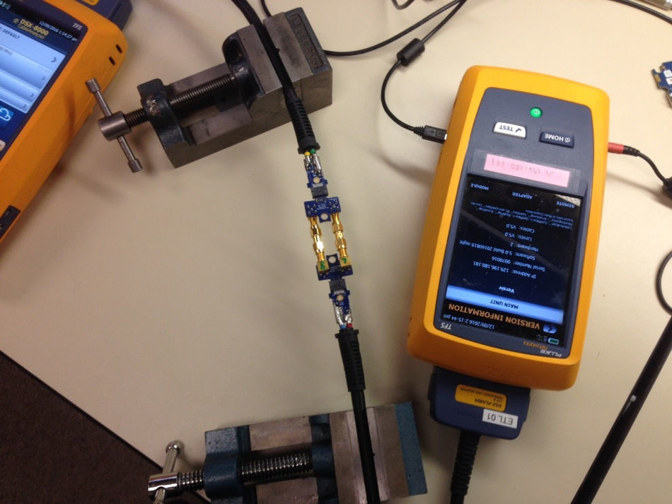 Fluke Networks DSX-8000 CableAnalyzer : One of the many specialized test set ups required to obtain ETL/Intertek certification of ANSI/TIA-1152-A Level 2G requirements.