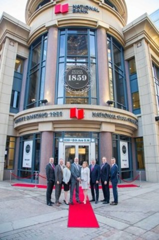 From left to right: Eric Bujold, President, Private Banking 1859; Gerard Cantwell, Vice-President and Regional Manager for Alberta and Okanagan Region; Shauna Clarke, Assistant Vice-President, NBF Banking Centres; Martin Gagnon, Executive Vice-President – Wealth Management, National Bank of Canada & Co-President and Co-Chief Executive Officer, National Bank Financial; Meghan Meger, President of Private Banking 1859 – Western Canada; Luc Paiement, Executive Advisor; Martin Lavigne, President, National Bank Financial – Wealth Management; Tony Scalia, Vice-President of Advisor Banking Services. (Photo credit: Neil Zeller) (CNW Group/National Bank of Canada)