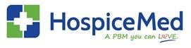 "HospiceMed's logo featuring a white medical cross in a blue and green square. The logo has a subtitle with the words, ""a PBM you can love."""