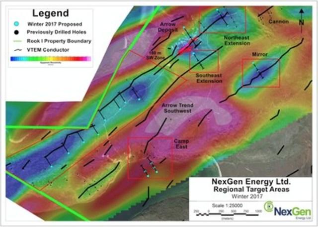 Figure 1: Winter 2017 Drill Target Areas with ZTEM Apparent Resistivity (CNW Group/NexGen Energy Ltd.)