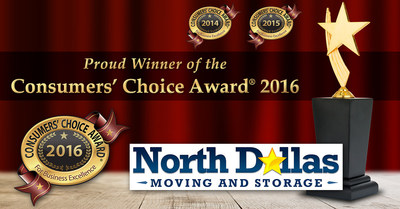 North Dallas Moving and Storage Earns Third Consecutive Consumers' Choice Award for Best Residential Movers