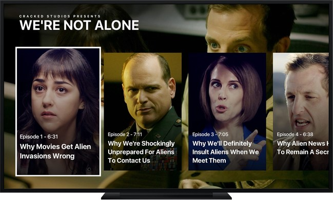"""The Cracked app for Apple TV offers new videos daily and long-running series including """"We're Not Alone."""""""