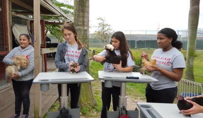 Hialeah Gardens Middle School students using Ergotron's LearnFit(R) Adjustable Standing Desk