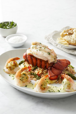 Crab Stuffed Shrimp & Lobster Tail with orzo, farro, roasted vegetables and lemon butter sauce