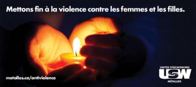 Mettons fin à la violence contre les femmes et les& filles& : une initiative anti-violence du Syndicat des Métallos. (Groupe CNW/Syndicat des Metallos)