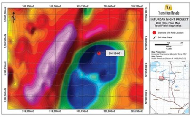 Figure 2. Plan Map Depicting Location of Drill Hole on Total Field Magnetics Image (CNW Group/Transition Metals Corp.)