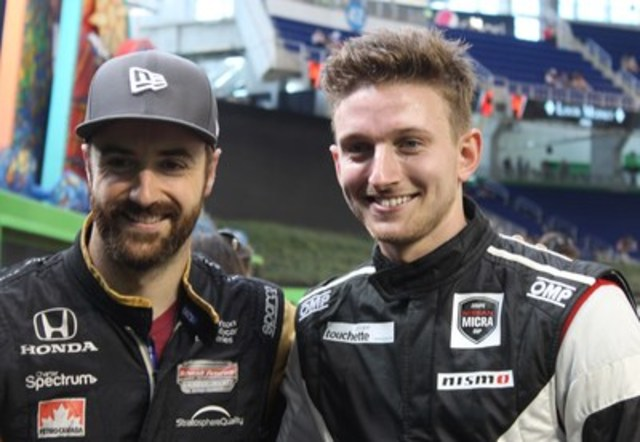 Stefan Rzadzinski, Nissan Micra Cup driver, and James Hinchcliffe, fellow Canadian and IndyCar star, representing Team ROC Factor Canada (CNW Group/Nissan Canada Inc.)