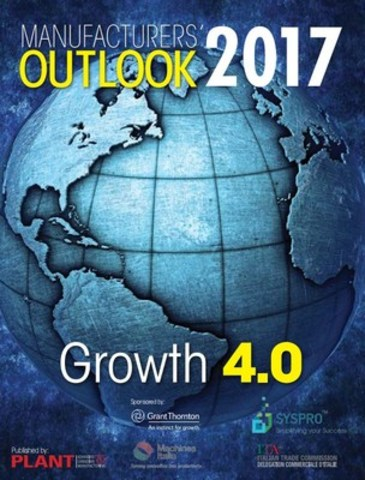 Grant Thornton LLP and SYSPRO Canada, proudly sponsored Manufacturers' Outlook 2017, published by PLANT Magazine. This valuable report reflects on key drivers of growth: innovation, exporting, investment and productivity, in addition to sharing manufacturers' sentiments for 2017. (CNW Group/Grant Thornton LLP)