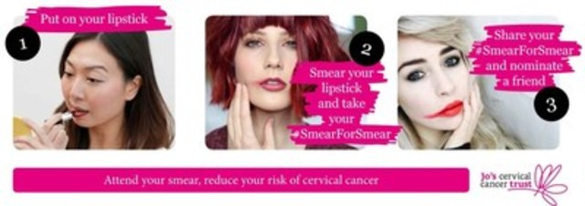 #SmearForSmear is a campaign developed by Jo's Cervical Cancer Trust, the UK's only dedicated charity supporting those affected by cervical cancer and cervical abnormalities; Visit www.jostrust.org.uk (CNW Group/Coalition Priorité Cancer au Québec)