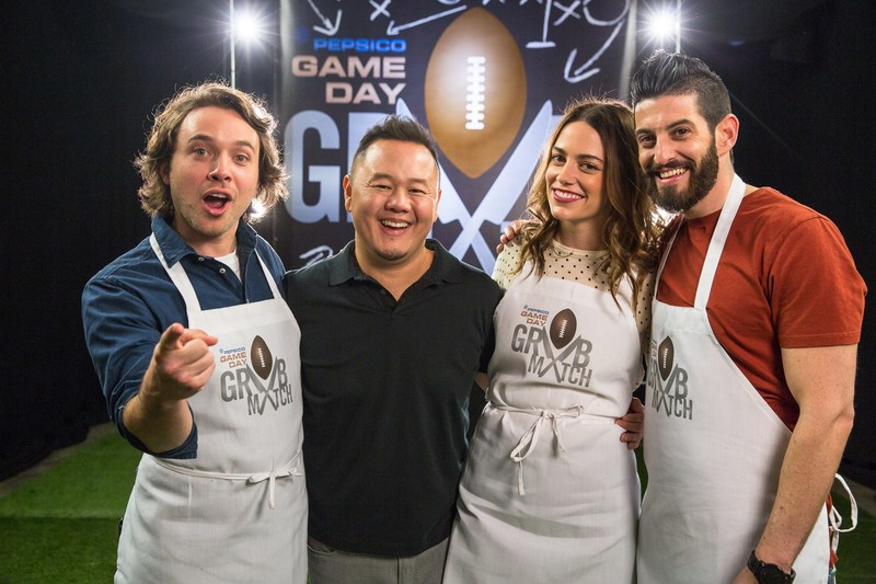 From left to right: Contestant Frankie Celenza, Host Jet Tila, Contestant Megan Mitchell, and Contestant Josh Elkin. Courtesy: PepsiCo Game Day Grub Match