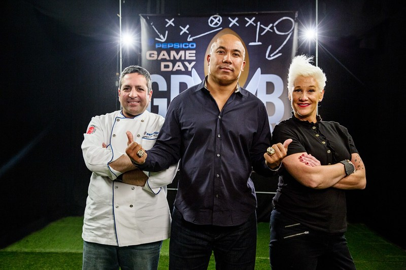 Game Day Grub Match Judges: PepsiCo Executive Chef Stephen Kalil, Former Pittsburgh Steelers Wide Receiver and Super Bowl XL MVP Hines Ward; and Food Network Chef Anne Burrell  Courtesy: PepsiCo Game Day Grub Match