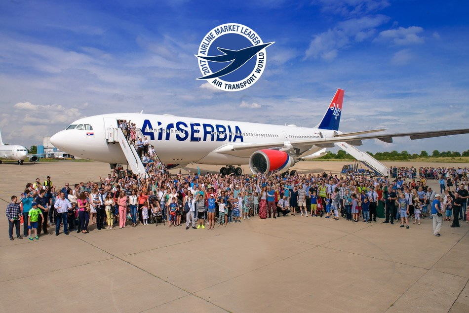 Air Serbia staff and their families celebrate the arrival of the Airbus A330 in June 2016.