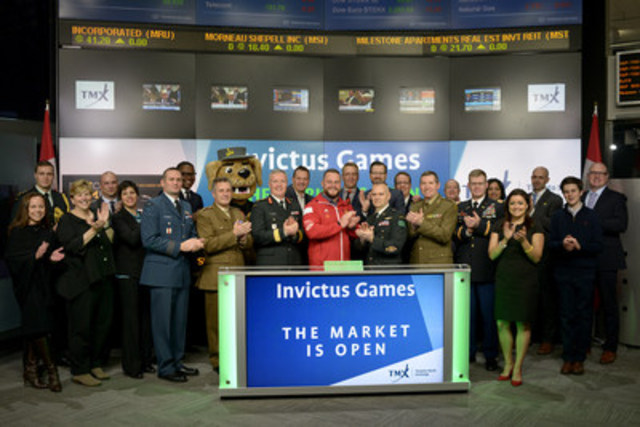 Michael Burns, CEO, Invictus Games joined Richard Rohan, Vice-President, Global Sales, Equity Capital Markets, TMX Group to open the market. Also, joining them to initiate the siren was Bruno Guevremont, Team Captain of Team Canada Invictus Games 2016. Presented by Jaguar Land Rover the third Invictus Games will take place in Toronto from September 23 – 30, 2017.  These Games will be the largest yet, with 550 competitors from 17 nations competing in 12 sports, including wheelchair rugby, athletics, swimming and new to the 2017 Games, golf. Established by Prince Harry in 2013, the Invictus Games use the power of adaptive sport to help ill and injured service members and veterans on their journey to recovery. http://www.invictusgames2017.com/ (CNW Group/TMX Group Limited)