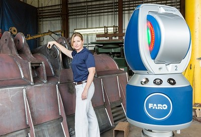 Easily and accurately perform quality inspection on large parts or assemblies with the FARO Vantage Laser Tracker. (PRNewsFoto/FARO Technologies, Inc.)