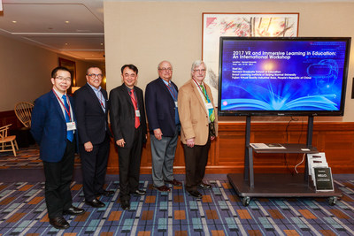 Group photo (from left): Ronghuai Huang, Dean of Smart Learning Institute in Beijing Normal University; Simon Leung, Vice Chairman of NetDragon; Dejian Liu, Chairman of NetDragon; John Richards, Adjunt Lecturer of Harvard Graduate School of Education; Professor Chris Dede, Harvard University Graduate School of Education; and Timothy E. Wirth Professor in Learning Technologies