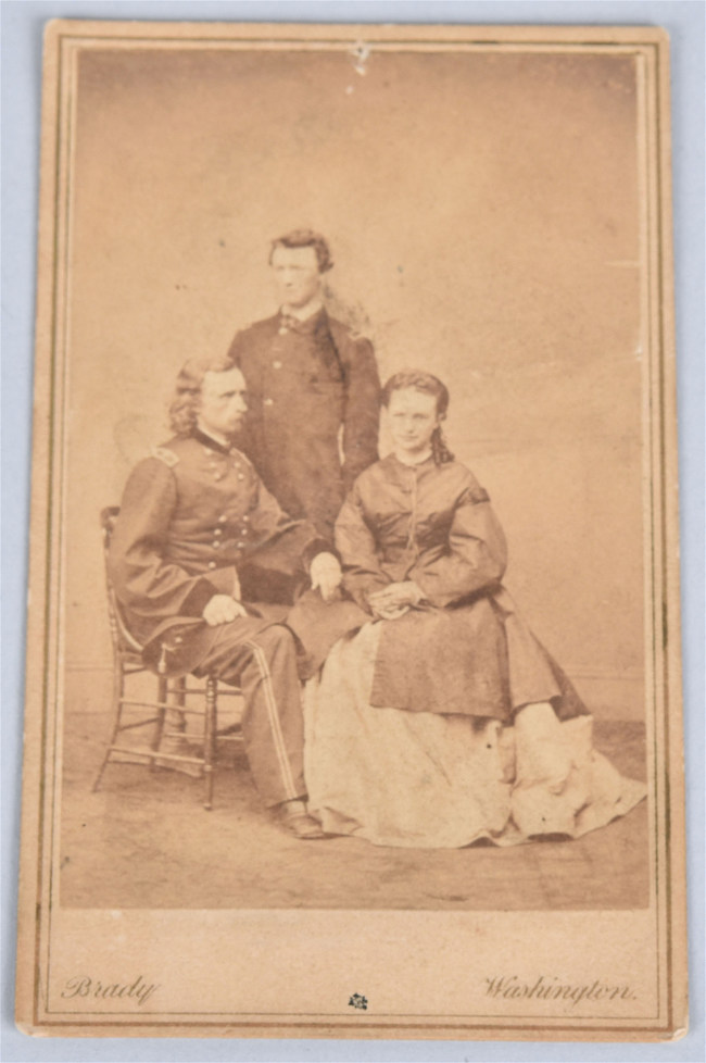 1865 carte de visite of Gen. George A. Custer, his wife Libby, and brother Lt. Thomas W. Custer, photographed by Matthew Brady in Washington, D.C. Estimate: $2,000-$3,000