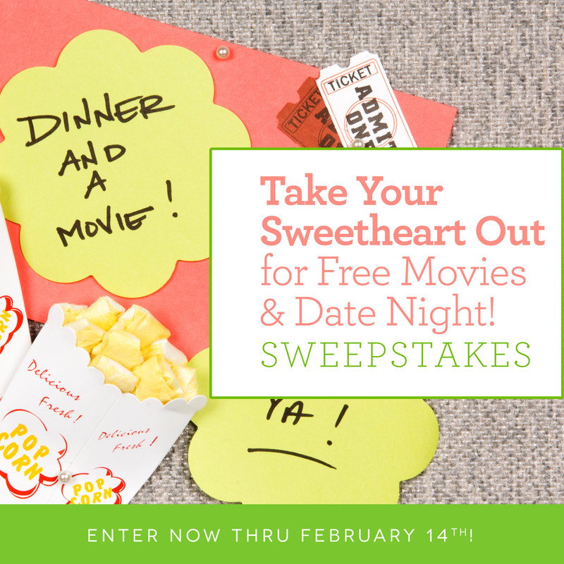 """Enter the """"Take Your Sweetheart Our for Free Movies & Date Night!"""" sweepstakes at sendflowers.com."""