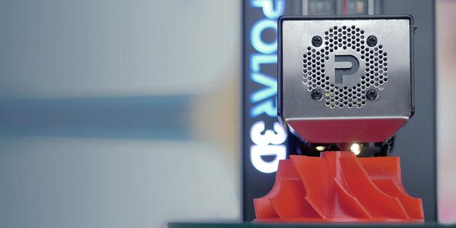 The Polar 3D 2.0 Printer creating a 3D printed facsimile of a turbine engine part.