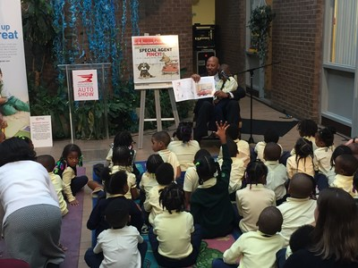 The book, entitled Pincy's Auto Show Adventures: Special Agent Pincy, will be officially unveiled and presented to Detroit Public Schools pre-K children at the Coleman A. Young Elementary School Tuesday, Jan. 24, 2017. Detroit Piston legend Earl Cureton was the featured guest at the unveiling and read to the preschoolers.