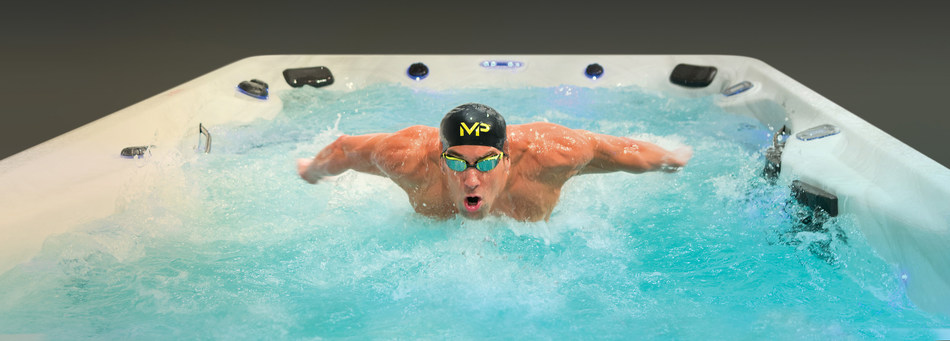 Michael Phelps swims in a Michael Phelps Signature Swim Spa by Master Spas