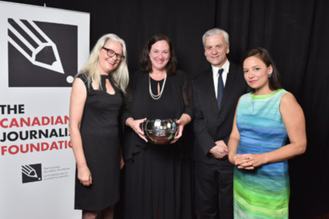 Submissions are being accepted for the 2017 CJF Jackman Award for Excellence in Journalism. Accepting last year's award on behalf of  CBC News were (from left to right): Cate Friesen, (former) senior producer with CBC Indigenous; Jennifer McGuire, general manager and editor-in-chief of CBC News; Cecil Rosner, managing editor of CBC Manitoba and Connie Walker, investigative reporter with CBC News. (Photo: Shan Qiao/CJF) (CNW Group/Canadian Journalism Foundation)