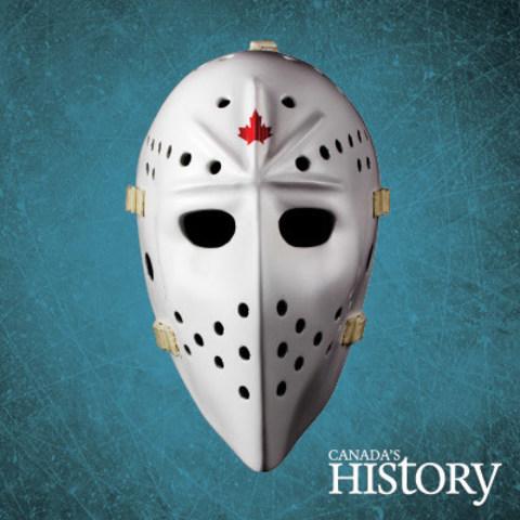 Hand-made replica of Jacques Plante's 1974 white fibreglass goalie mask. (CNW Group/Canada's History)