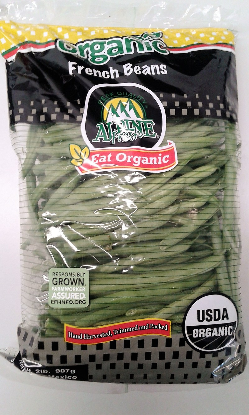Alpine Fresh organic French beans produced in Puebla, Mexico, are now certified and include a label from the Equitable Food Initiative.