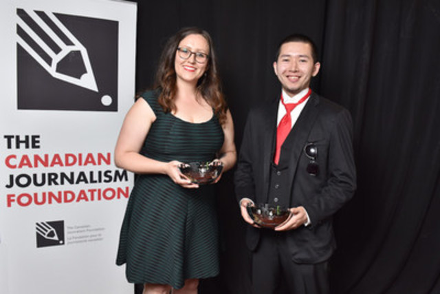 Stephanie Cram, now an associate producer with CBC Indigenous, and Trevor Jang, a contributor to CBC Indigenous and Discourse Media, were the recipients of the 2016 CJF Indigenous Journalism Fellowships. (Photo: Shan Qiao/CJF) (CNW Group/Canadian Journalism Foundation)