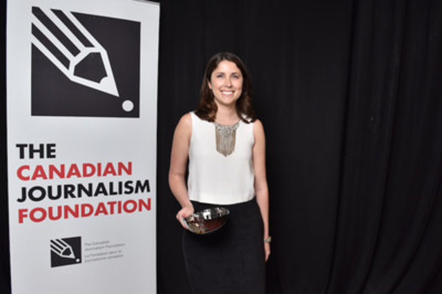 Jayme Poisson, an investigative reporter with the Toronto Star, was the 2016 Greg Clark Award recipient. Photo: Shan Qiao/CJF (CNW Group/Canadian Journalism Foundation)