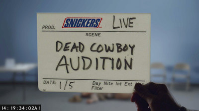 "Image from SNICKERS(R) new Super Bowl ad trailer, titled ""Dead Cowboy Casting."""