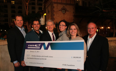 VWR Foundation President, Board and Committee Members present $100,000 check in honor of key members of the VWR Sales team.