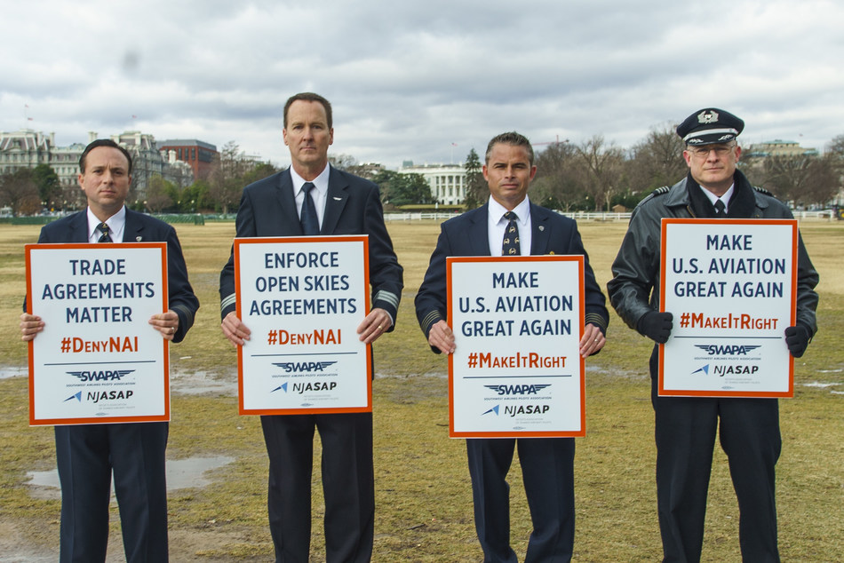NJASAP and SWAPA leaders are pictured in front of the White House during the #MakeItRight Pilot Support Rally that drew more than 140 NetJets and Southwest pilots, flight attendants and mechanics to urge President Donald Trump to reverse an eleventh-hour Obama administration decision to grant a foreign air carrier permit to Norwegian Air International (NAI). Pictured (l-r) NJASAP President FO Pedro Leroux, SWAPA Governmental Affairs Committee Chair FO Chip Hancock, NJASAP Industry Affairs Committee Chair Capt. Coley George, and SWAPA Vice President Capt. Mike Panebianco.