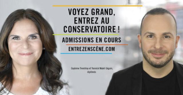 Guylaine Tremblay et Yannick Nézet-Séguin, diplômés, ont prêté leur image à la campagne d'admission du Conservatoire. (Groupe CNW/Conservatoire de musique et d'art dramatique du Québec)