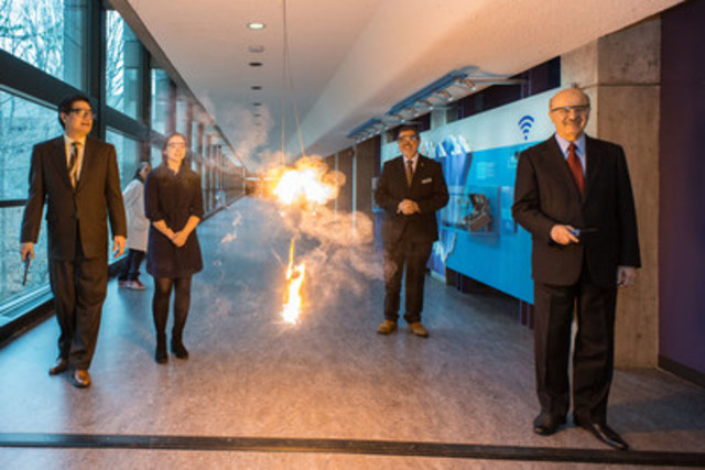 Ontario Science Centre Board Chair, Brian Chu (left), 2016 Weston Youth Innovation Award recipient, Emma Mogus, Ontario Science Centre CEO, Maurice Bitran, and Ontario Minister of Research, Innovation and Science Reza Moridi, light the ribbon at the official launch of the Ontario Science Centre's Canada 150: Discovery Way, a new installation that showcases a variety of Canadian scientific discoveries, inventions and innovations. (CNW Group/Ontario Science Centre)