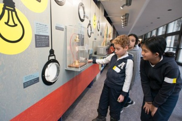 Students from St. John XXII Catholic Elementary School in North York explore the Ontario Science Centre's Canada 150: Discovery Way, a new installation that highlights the uniquely Canadian stories of scientific inventions and innovations. (CNW Group/Ontario Science Centre)
