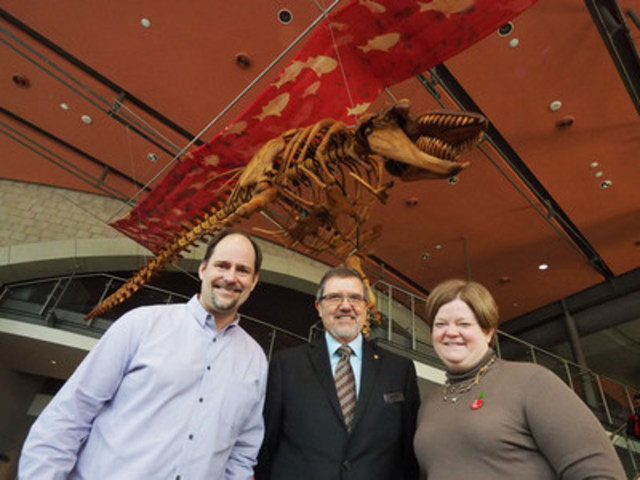 Ontario Science Centre CEO, Maurice Bitran (centre) joins Canadian artist, Ken Hall and TD Friends of the Environment Foundation Regional Manager, Carolyn Scotchmer, at the launch of the Ontario Science Centre's new installation, Legacy, a life-size orca skeleton carved entirely from reclaimed cedar. (CNW Group/Ontario Science Centre)