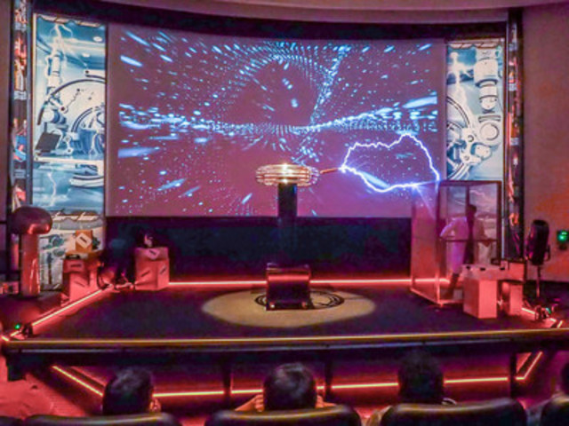 A seven-foot Tesla coil dazzles visitors at the official launch of The Energy Show at the Ontario Science ...