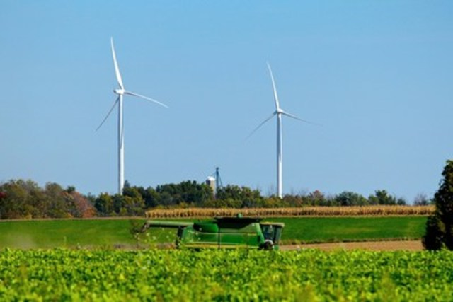 Two of the ten turbines that make up the Gunn's Hill Wind Farm in Oxford County, Ontario. (CNW Group/Bullfrog Power)