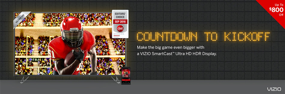 VIZIO brings stellar deals to Canada just in time for the Big Game with a range of displays on sale across all major Canadian retailers.